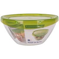 Салатник стеклянный Luminarc Keep`n`box 420мл с пластиковой крышкой