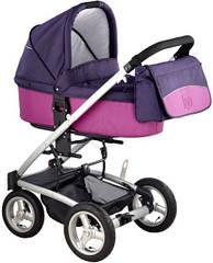 Детская коляска универсальная 2 в 1 Bebe Beni Igo фиолетовый-розовый (Польша)