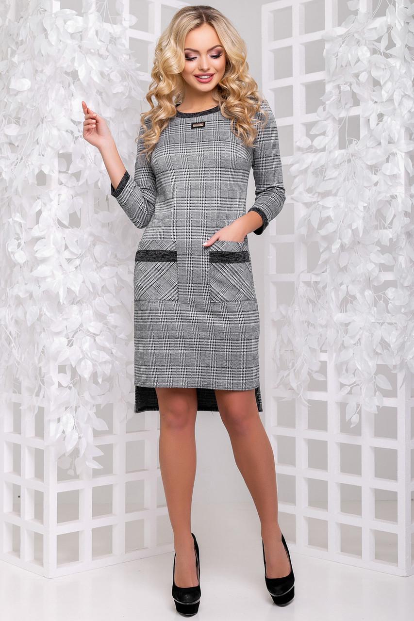 Офисное платье в клеточку 2901
