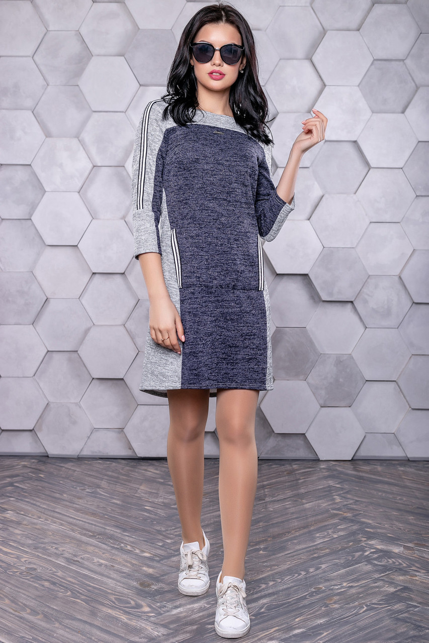 Платье спорт шик из трикотажа ангора с люрексом 3145