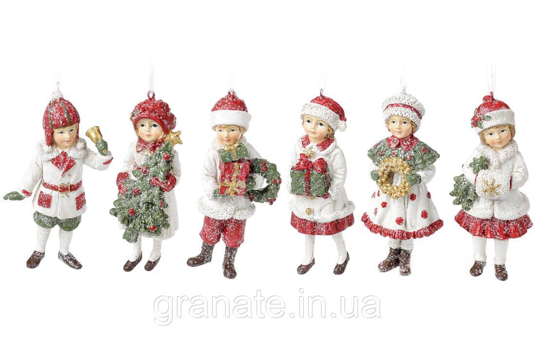 Декоративная подвеска Дети 12см, 6шт, цвет - белый с красным