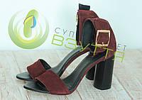 Замшевые женские босоножки арт 331 бор размеры 36,37,39, фото 1