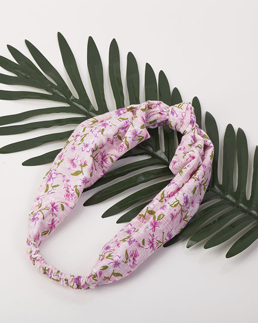 Повязка-узелок розовая принт