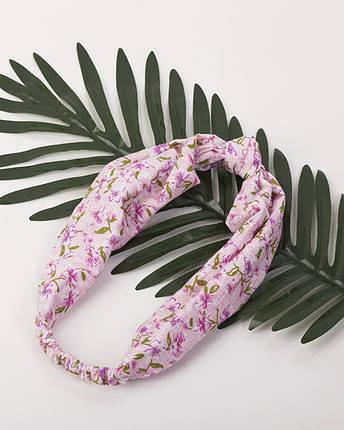 Повязка-узелок розовая принт, фото 2