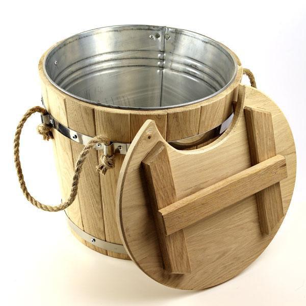 Запарник для віників дубовий, 15 л метал з вставкою