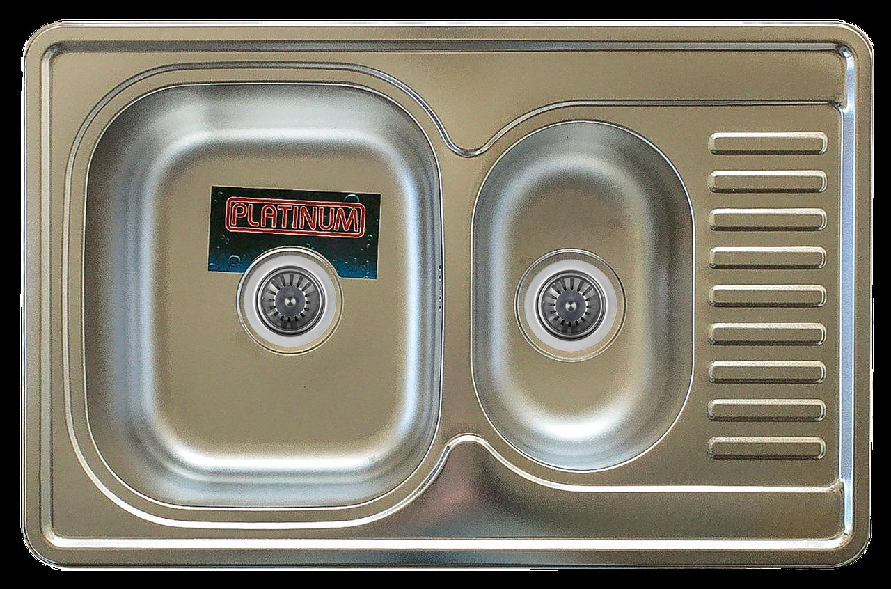 Кухонная мойка Platinum 7850D Satin 0,8мм с дополнительной чашей