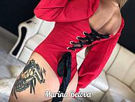 Женское боди со шнуровкой на спине и рукавами - фонариками 16BO294