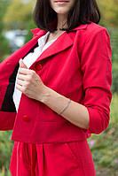 Костюм брючный, классический, женский. Красный