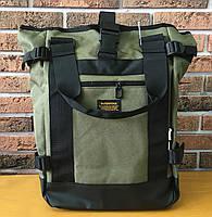 Рюкзак городской мужской спортивный (для учебы, работы, тренировок, путешествий) Interfool, зеленый + черный