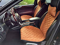 Накидки на сиденья коричневые. Передний комплект. ШИРОКИЕ. Авточехлы