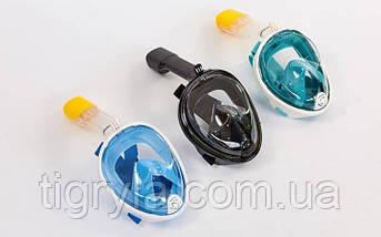 Маска для снорклинга с дыханием через нос Free Breath. Маска для подводного плавания полнолицевая, фото 3