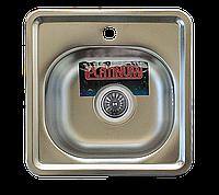 Мойка кухонная Platinum 3838 Decor 0,6мм стальная квадратная