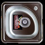 Квадратная кухонная мойка Platinum 3838B Satin 0,6мм, фото 5