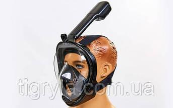 Маска для снорклинга с дыханием через нос Free Breath. Маска для подводного плавания полнолицевая, фото 2