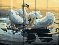 Картина по номерам на дереве Лебеди на пруду (RA-W011) 40 х 50 см Rainbow Art