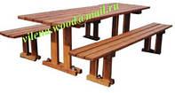 """Стол деревянный дачный для пикника со скамейками в комплекте, цвет тик, """"Прага"""""""