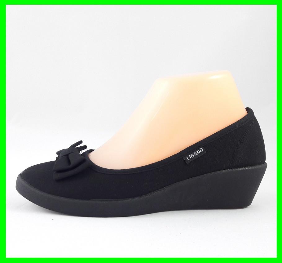 Женские Мокасины Чёрные Балетки Туфли на Танкетке (размеры: 36)