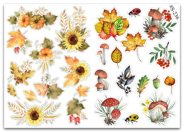 Stickers Pack Watercolor, Осень  #236