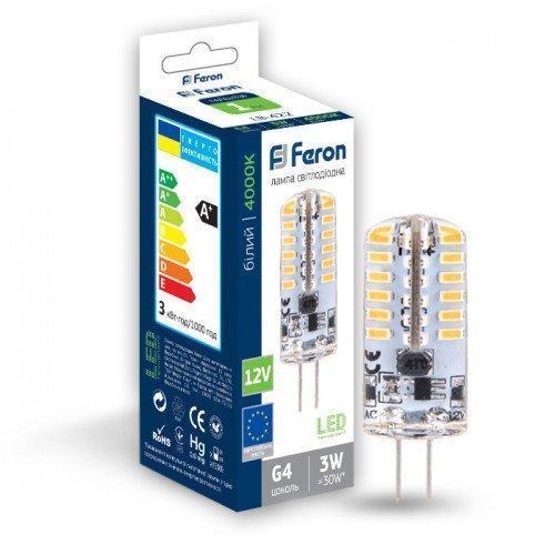 Светодиодная лампа Feron LB-422 AC/DC12V 3W 48leds G4 4000K 240Lm