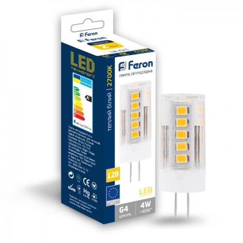Светодиодная лампа Feron LB-423 AC/DC12V 4W 33leds G4 2700K 320Lm