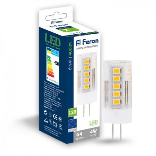 Светодиодная лампа Feron LB-423 AC/DC12V 4W 33leds G4 4000K 320Lm