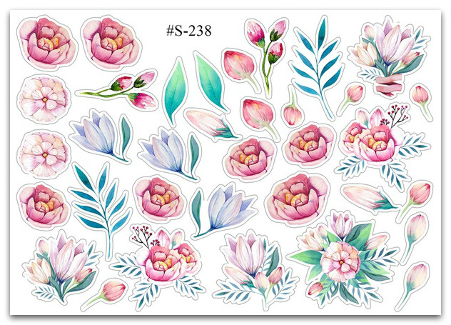 Stickers Pack Watercolor, Flowers #238