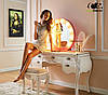 Зеркало настольное с лампочками для макияжа Sky розового цвета, фото 2