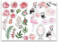 Stickers Pack Watercolor, Flowers, Girls #240