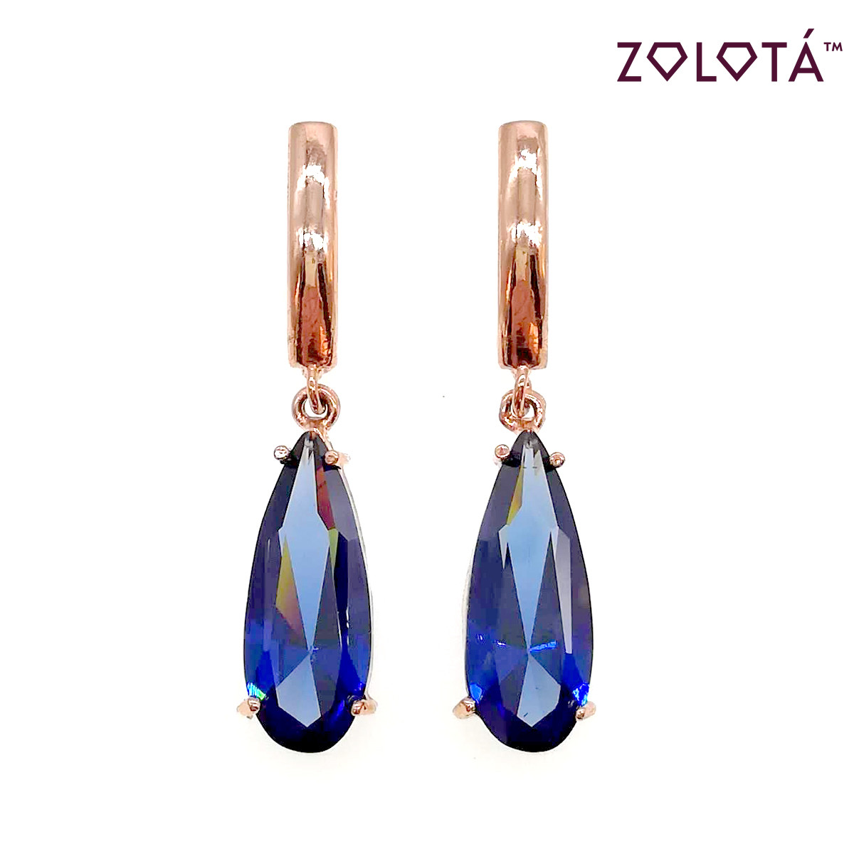 Сережки Zolota з синіми фіанітами (куб. цирконієм), з медичного золота, в позолоті, ЗЛ00501 (1)