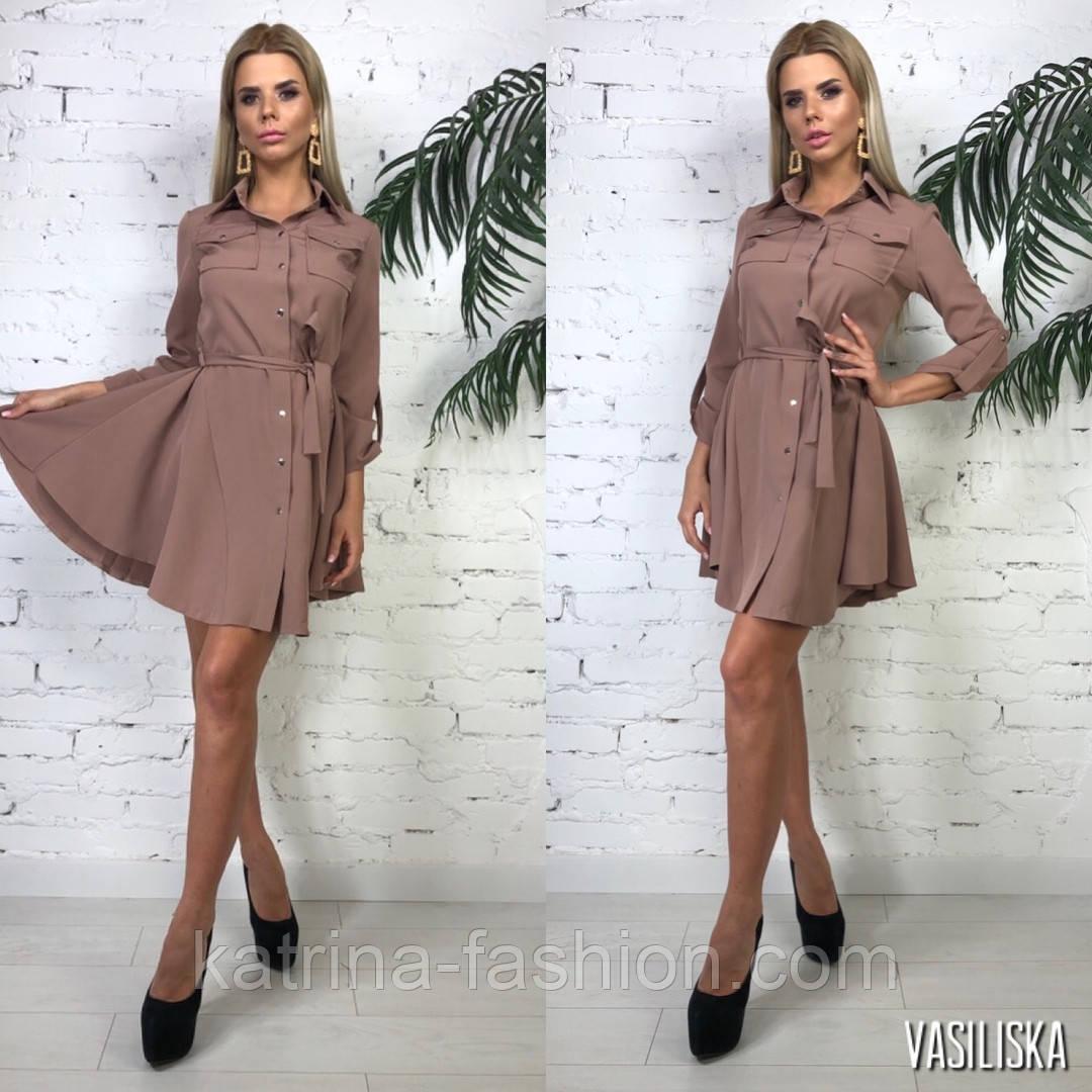 Женское стильное платье-рубашка с юбкой-солнце и поясом (в расцветках)