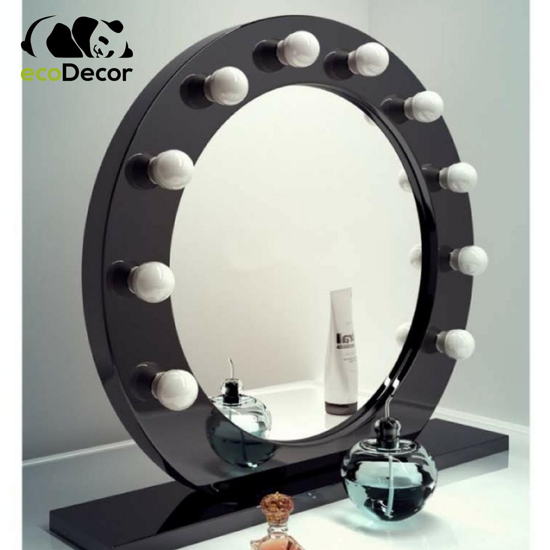 Зеркало настольное с лампочками для макияжа Sky черного цвета