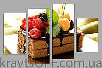 """Модульная картина на холсте из 4-х частей """"Тортик с ягодами"""" ( 67х102 см )"""