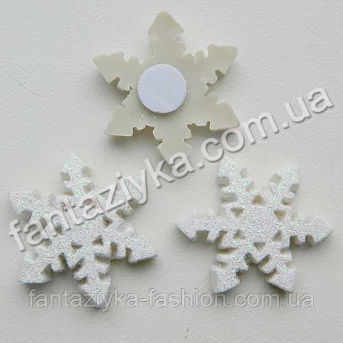 Декор на липучке, Снежинка керамическая белая 25мм