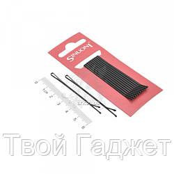 Невидимка прямая черная, цена за упаковку, в упаковке 72 шт