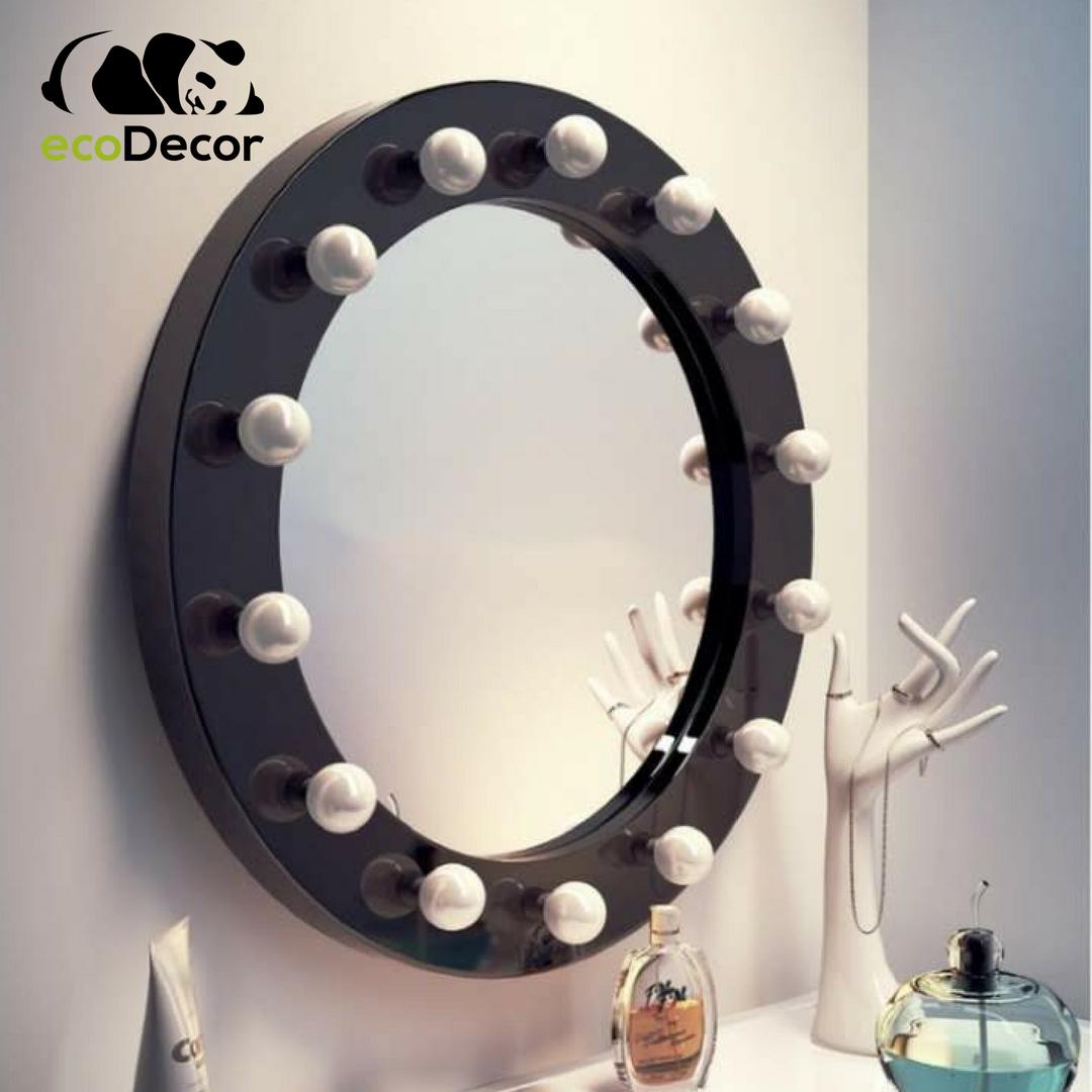 Зеркало настенное с лампочками для макияжа Sky-2 черного цвета