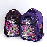 """3459 Рюкзак подростковый школьный для девочки 4 отделения """"Цветы"""" 40*27*16 см"""