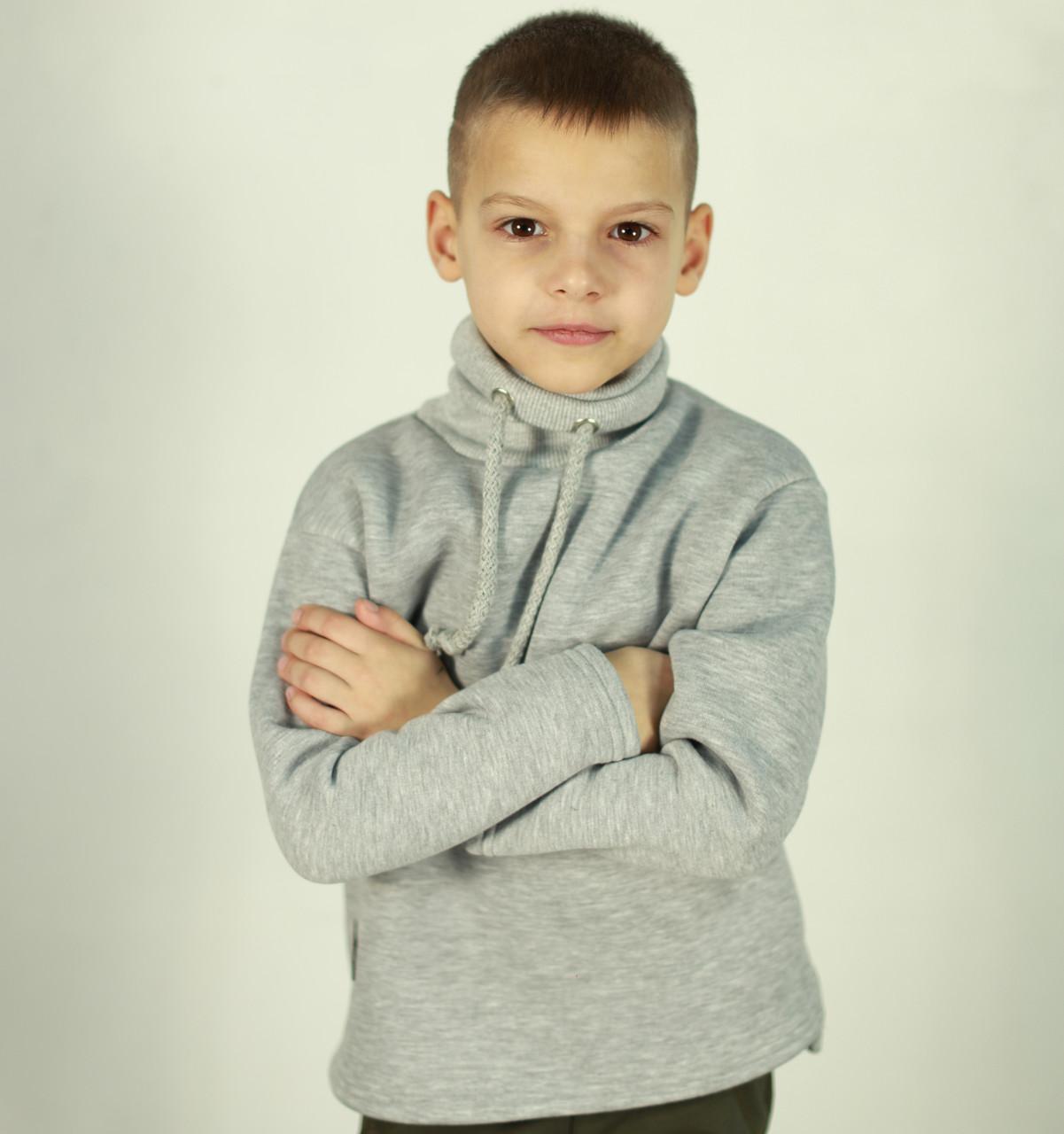 Толстовка с канатом для мальчика. Теплый детский джемпер   Толстовка з канатом для хлопчика