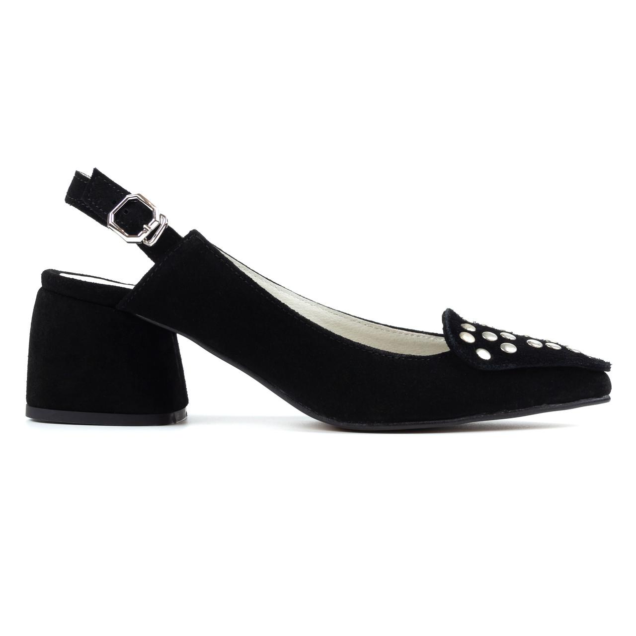 Босоножки замшевые Woman's heel черные (О-869)