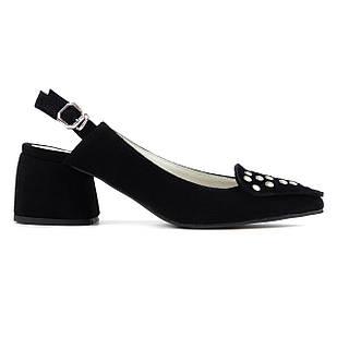 Босоножки замшевые 36-40 Woman's heel черные на устойчивом каблуке декорированные заклепками