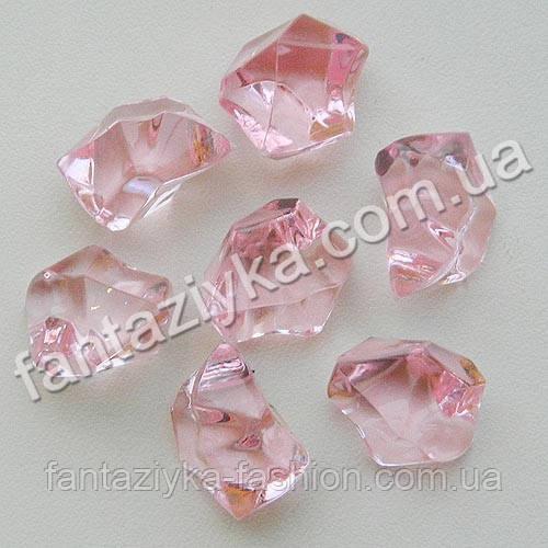 Искусственный лед 25мм розовый, кристалл декоративный