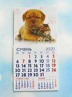 """Календарик магнитный отрывной сувенирный на 2020 г.  """"Кот и пёс"""""""
