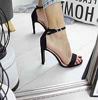 Женские замшевые босоножки на высоком каблуке 74OB16