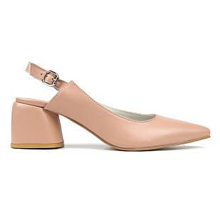Лаконичные кожаные босоножки 38-40 Woman's heel бежевые на устойчивом каблуке с закрытым носком