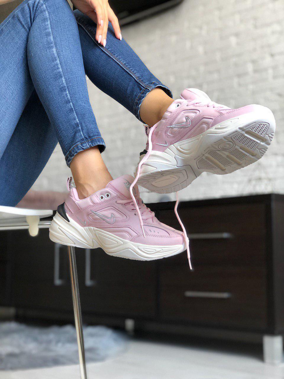 Женские кроссовки NIKE M2K TEKNO из натуральной кожи, нежно розовые
