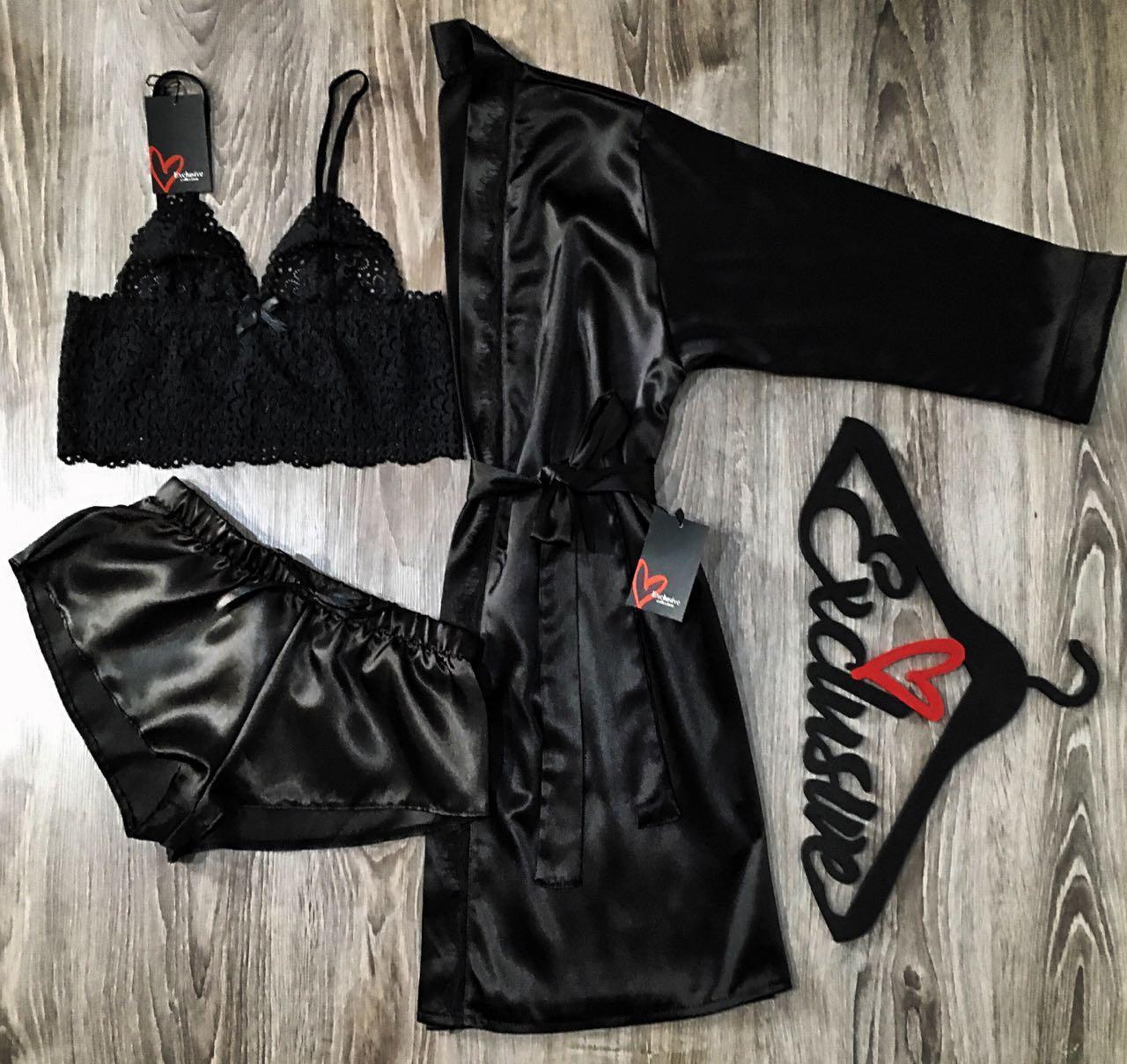 Чорний атласний набір для дому та сну, халат з мереживом бралетт шорти