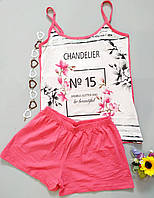 Одежда домашняя майка шорты белая с розовым пижама женская Mody