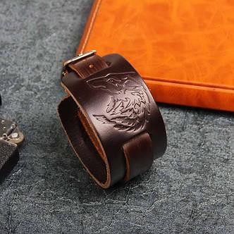Браслет кожаный BK-67 с волком темно-коричневый, фото 2