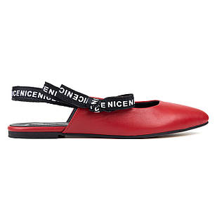 Босоножки из натуральной кожи женские 38-40 Woman's heel красные с закрытым носком