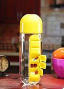 Пляшка для води з таблетницей Pill Vitamin Water Bottle Yellow, фото 3
