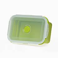 Ланчбокс складаний силіконовий (зелений) 800 мл, фото 3